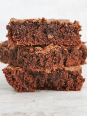 side view of three brownie squares