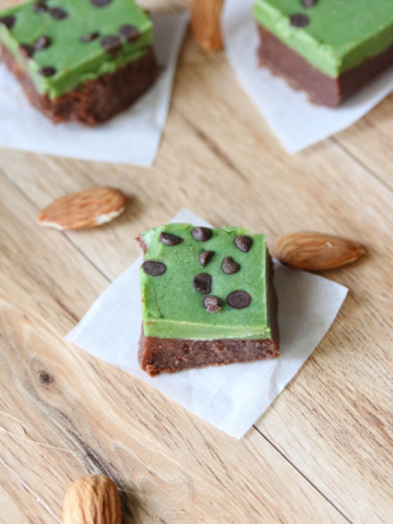 mint fudge squares. Brown on the bottom and green chocolate on top with chocolate chips