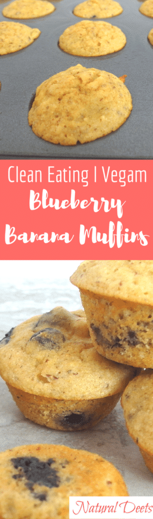 titled photo collage of clean eating mini muffins with blueberries and bananas