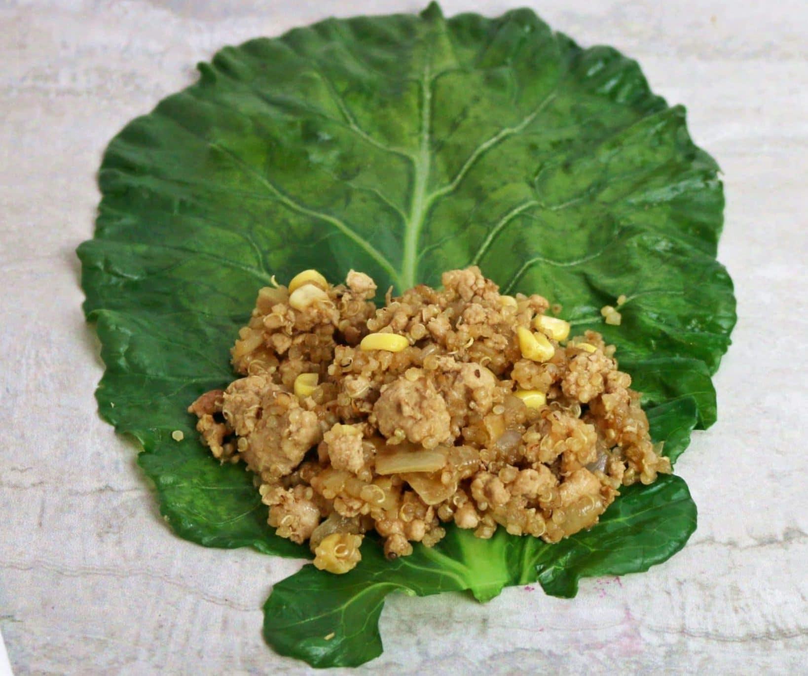 asian stuffed kale leaves