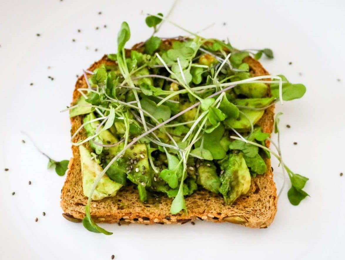 picture of avocado toast with sprouts