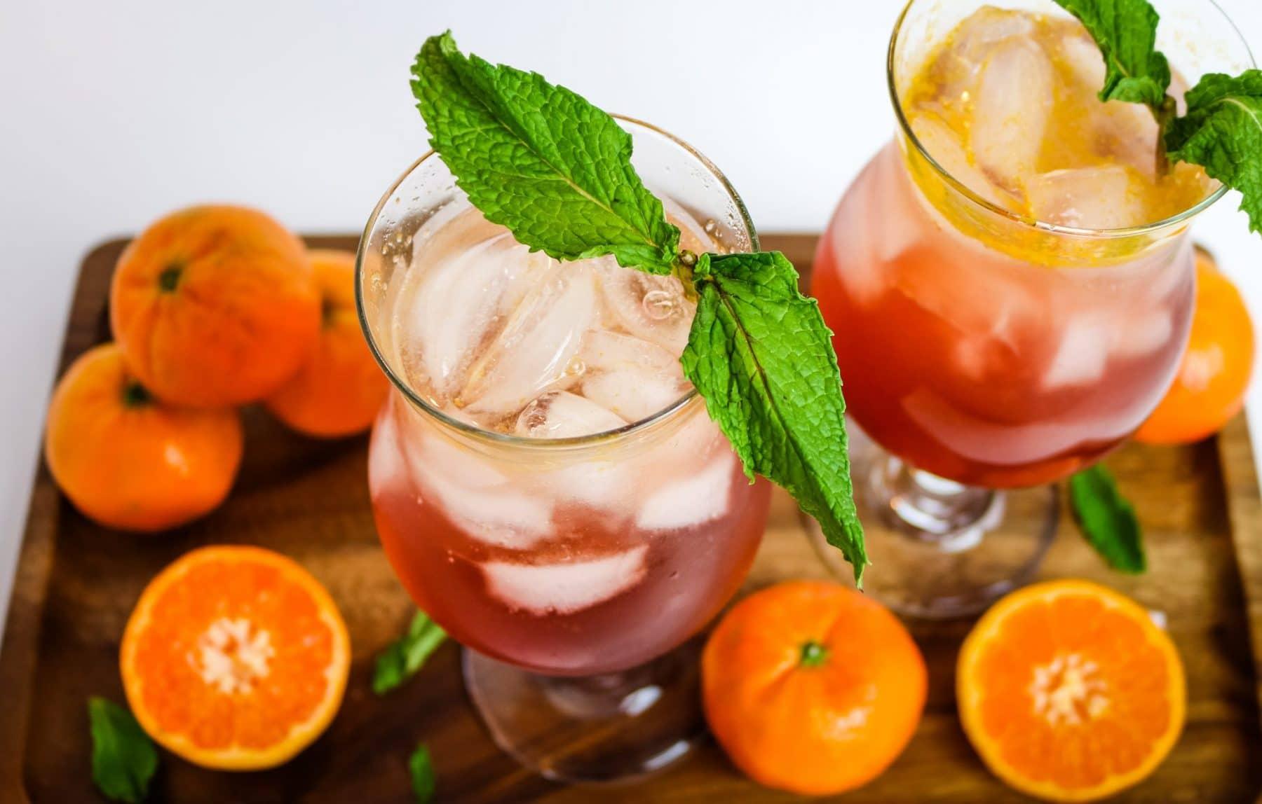 sparkling pomegranate margarita in a glass