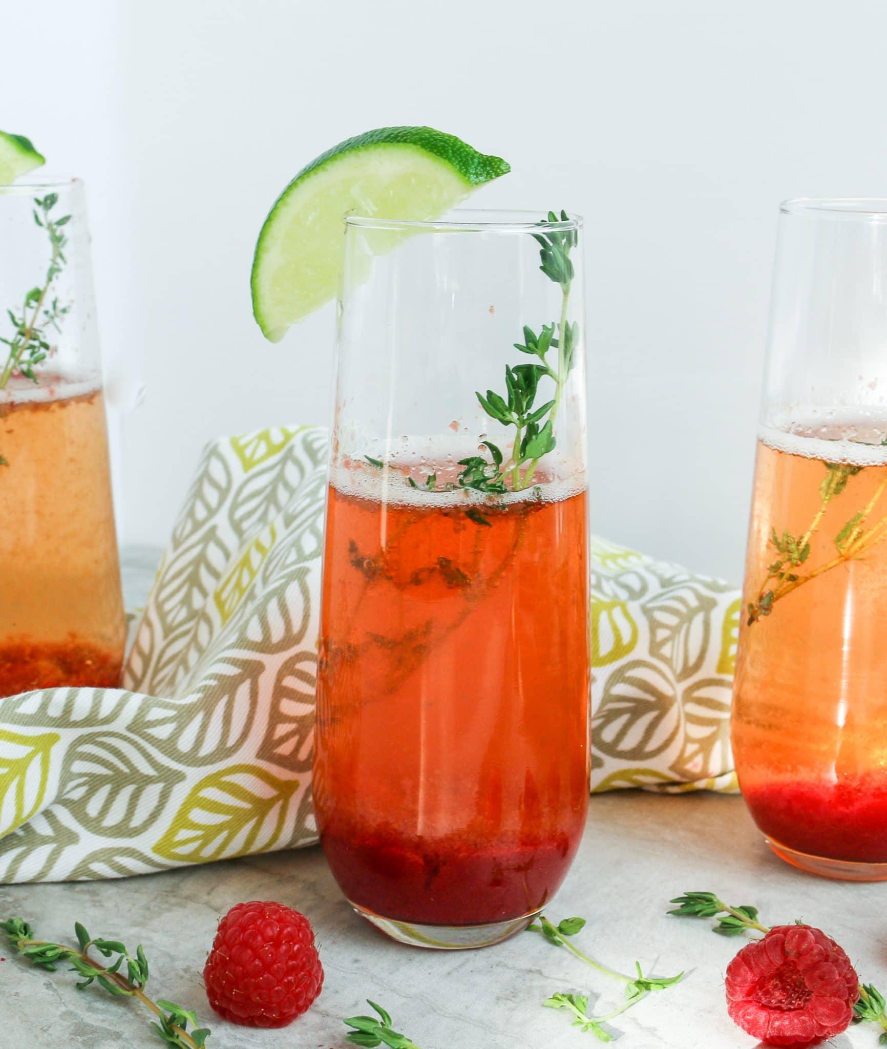 glass of strawberry mimosa