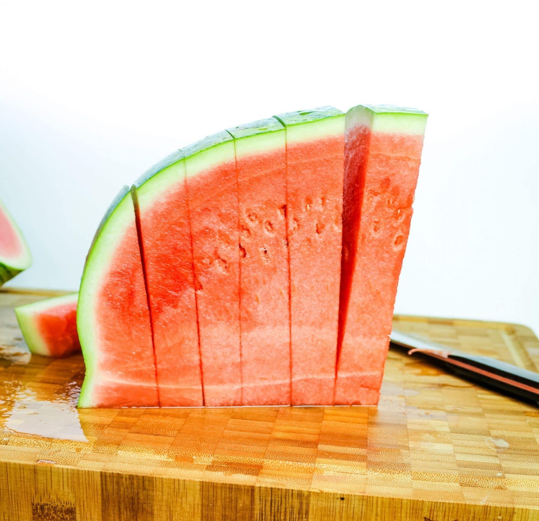 cut watermelon on a cutting board