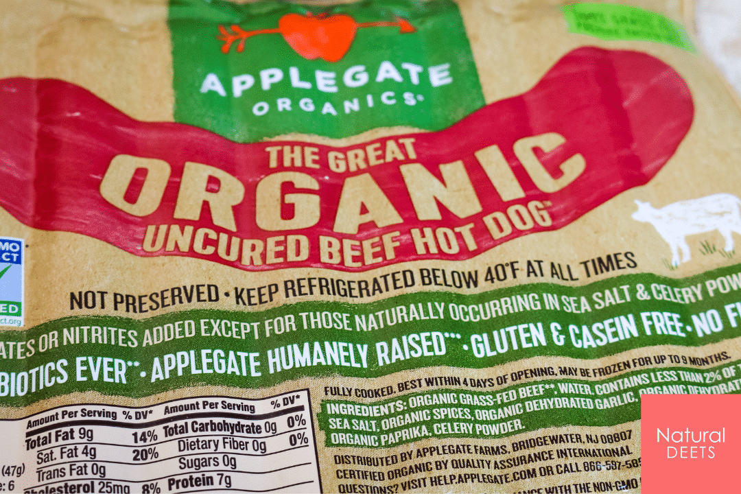 picture of organic hot dog package