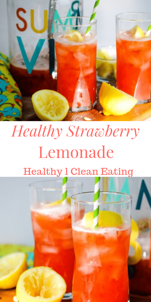 pin with 2 pictures of strawberry lemonade in glasses