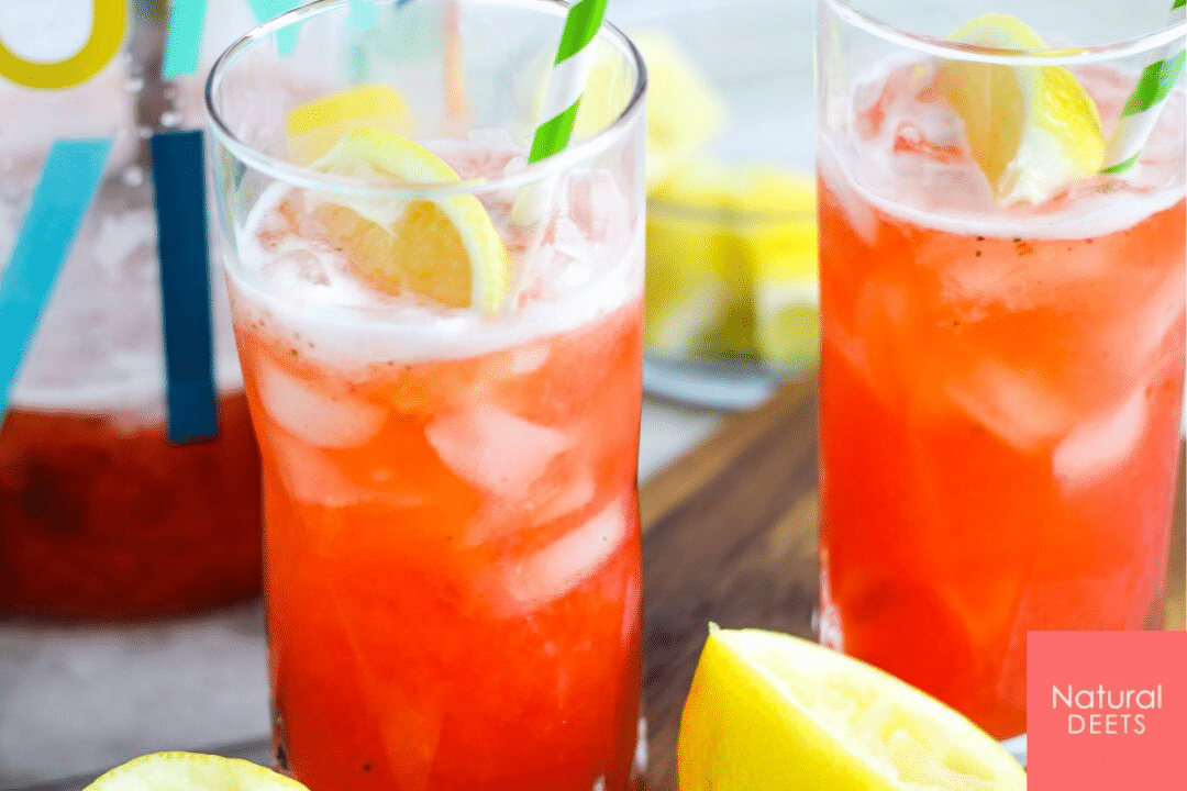 picture of two tall glasses of strawberry lemonade