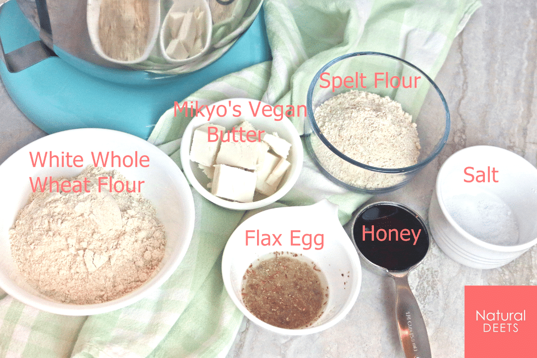 a picture of all the ingredients needed to make sugar cookies