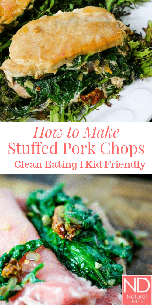 A pinterest pin with 2 pictures of the stuffed pork chops