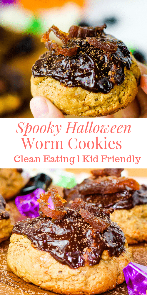a pinterest pin for spooky halloween cookies with 2 pictures of the cookies