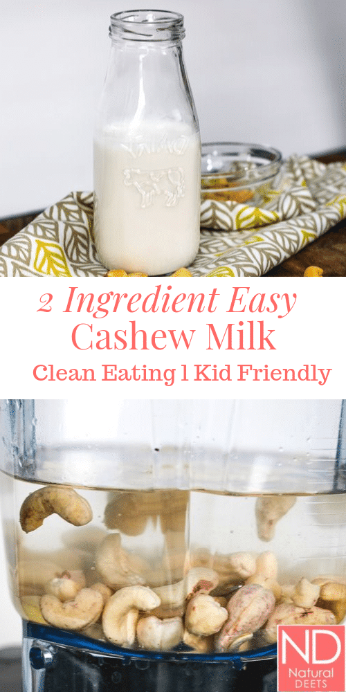 pinterest pin for 2 ingredient cashew milk with 1 picture of cashews in a blender and 1 picture of the finished milk