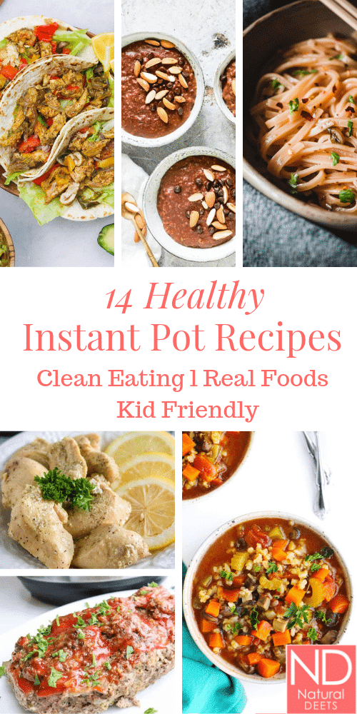 A Pinterest pin that has pictures of 6 of the instant pot recipes in the post