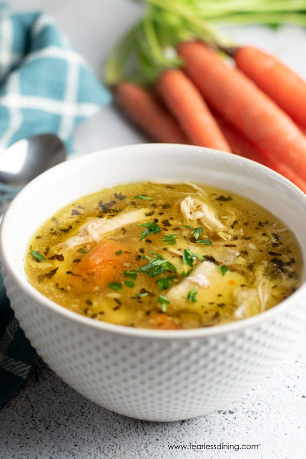 picture of chicken soup in a bowl
