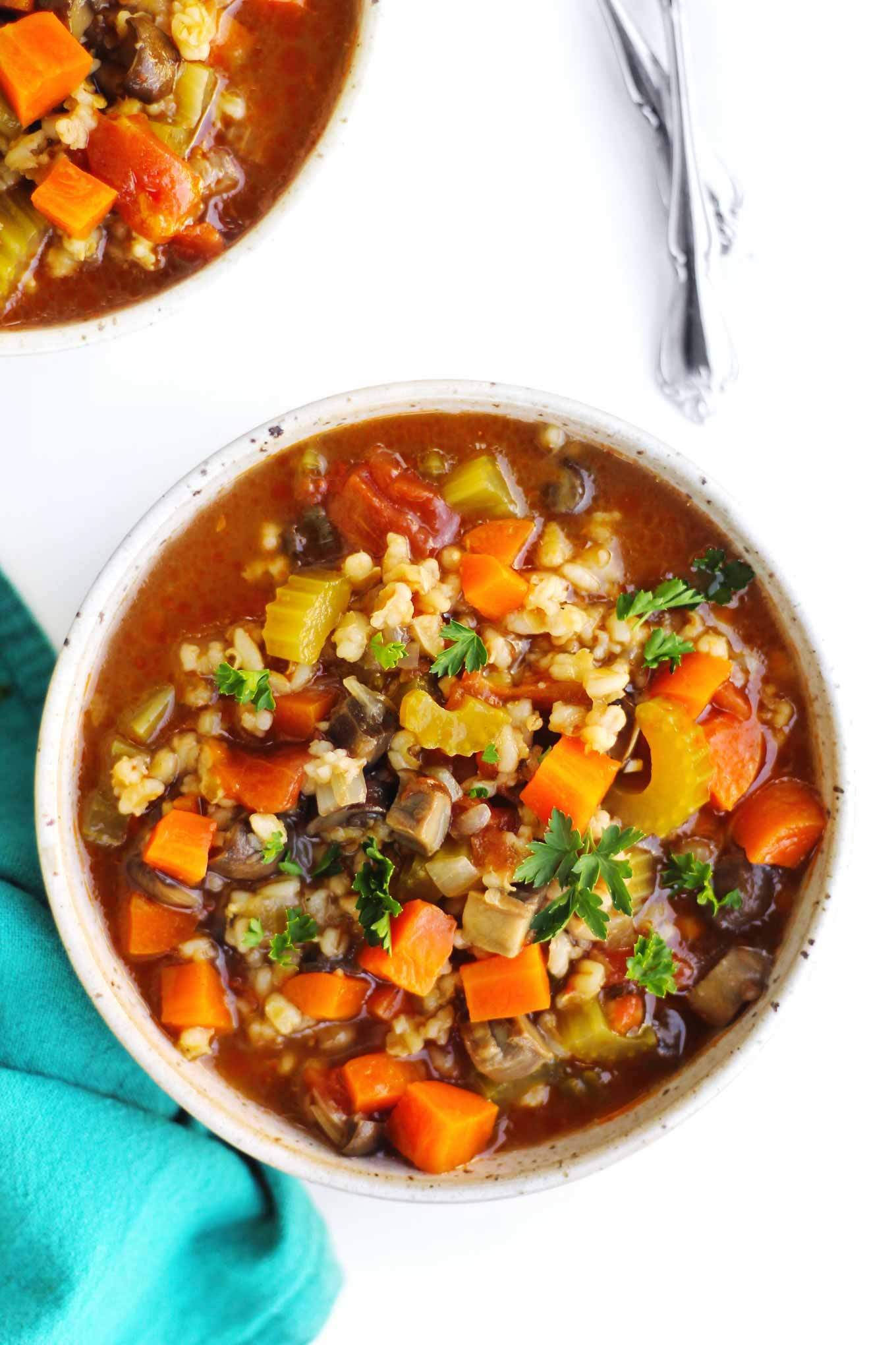 a picture of vegetable soup with barley