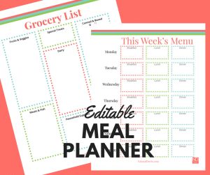 free editable meal planner