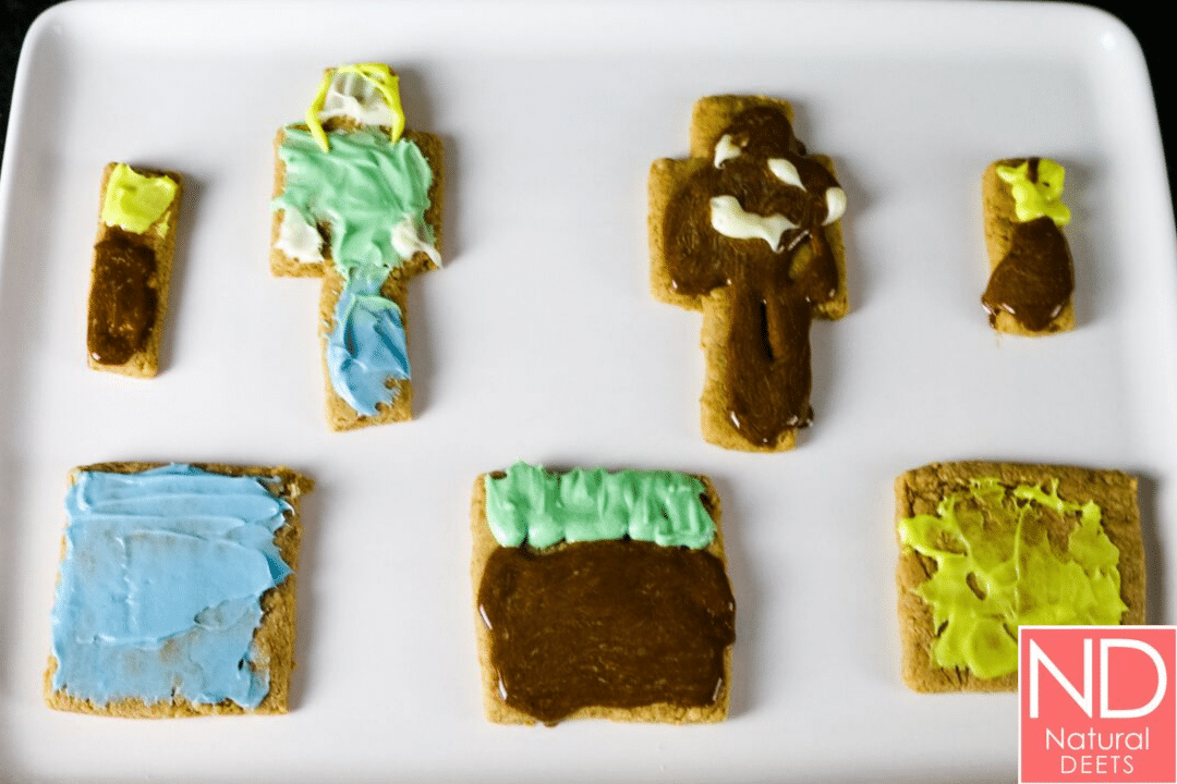 picture of 7 Minecraft sugar cookies that were decorated with frosting