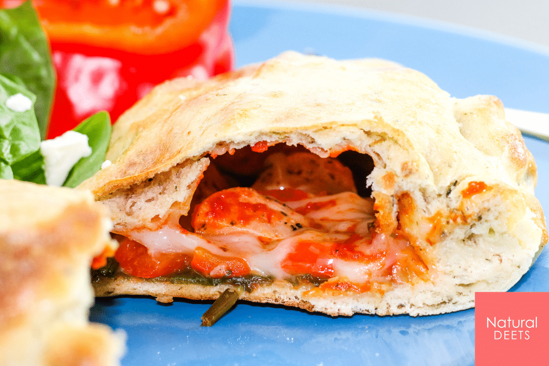 picture of the calzone cut in half so you can see the inside of the calzone