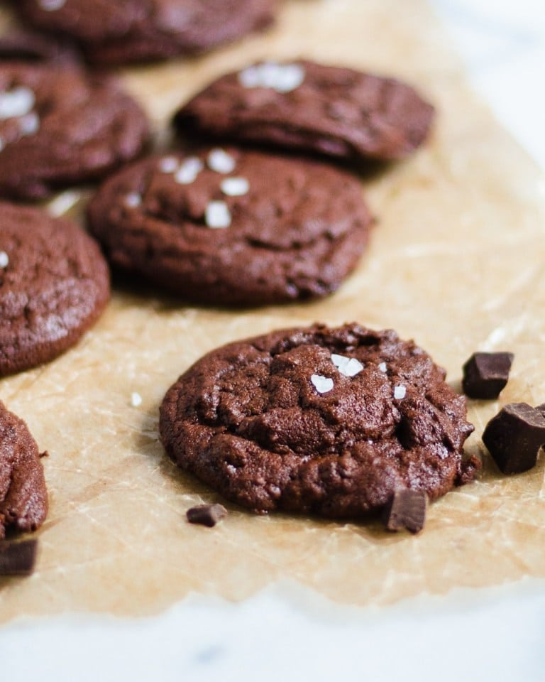 round chocolate chewy cookies with a sprinkle of rock salt