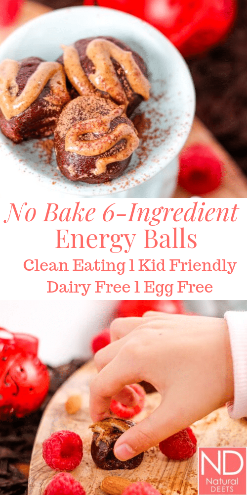 a pin for no bake energy balls with one picture of 3 energy balls and one picture of a kid had grabbing an energy ball