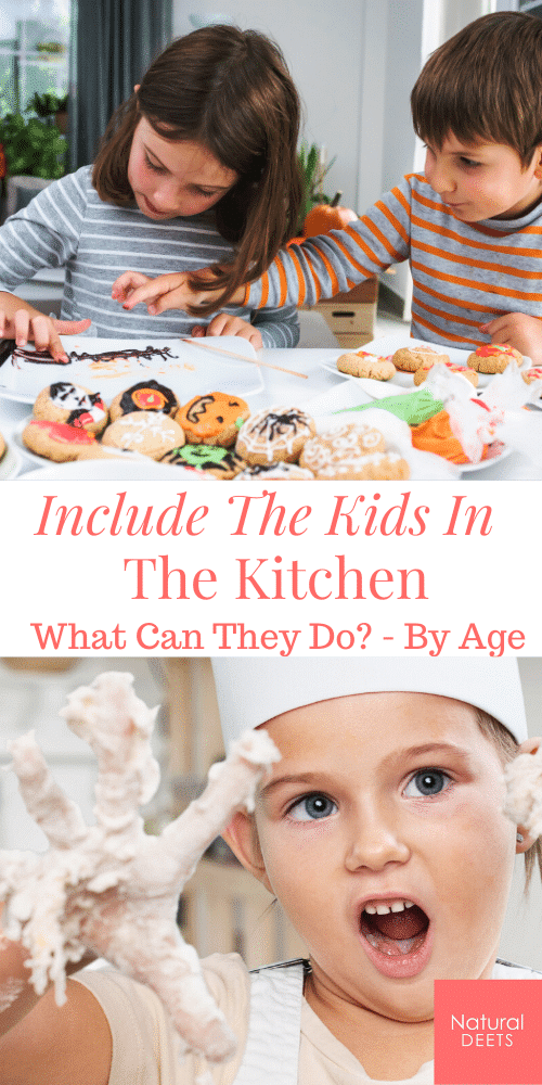 a pintrest pin that says include kids in the kitchen and pictures of kids cooking
