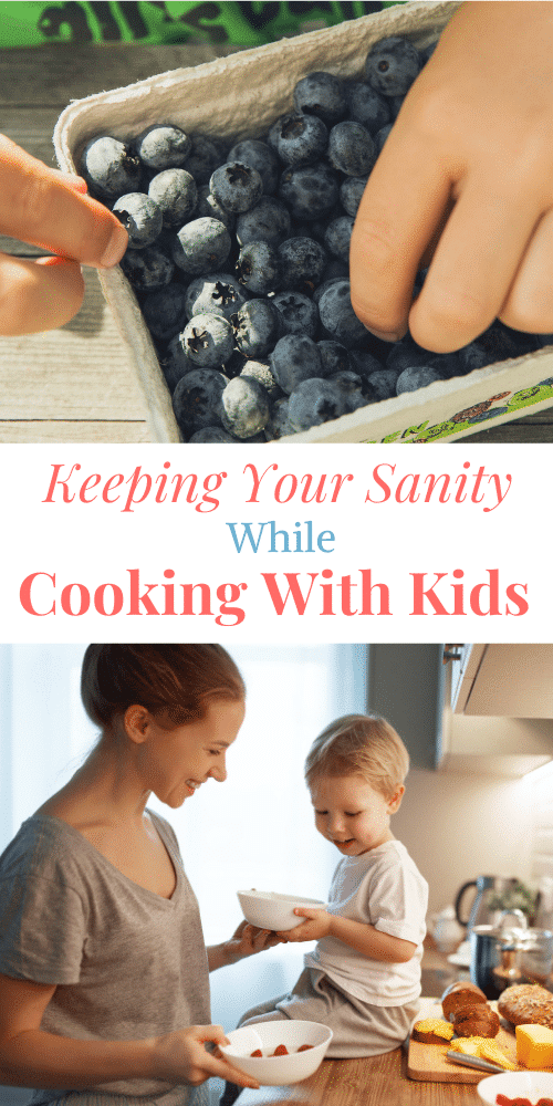a pinterest pin about cooking with kids and has a picture of a kids hand in blueberries