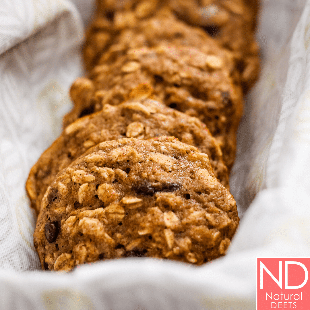a picture of chocolate chip oatmeal cookies in a row