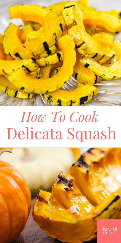a pinterest pin showing pictures of cooked delicata squash