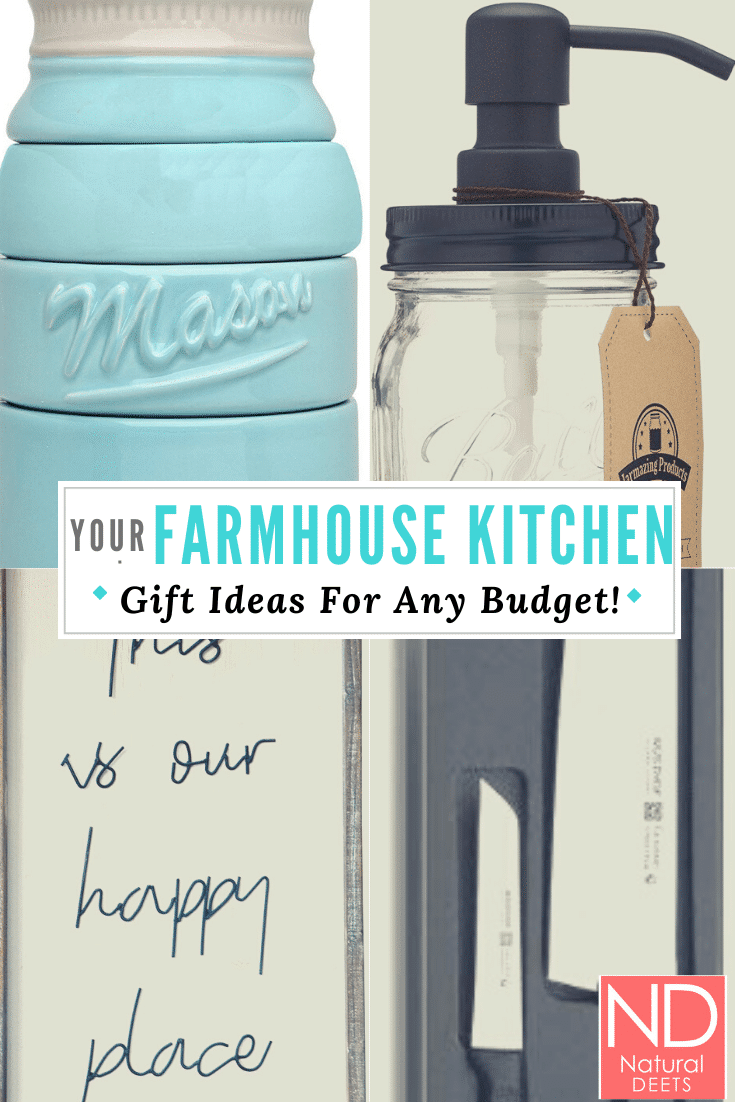 a pinterest pin with 4 pictures of kitchen gifts that are listed in teh post