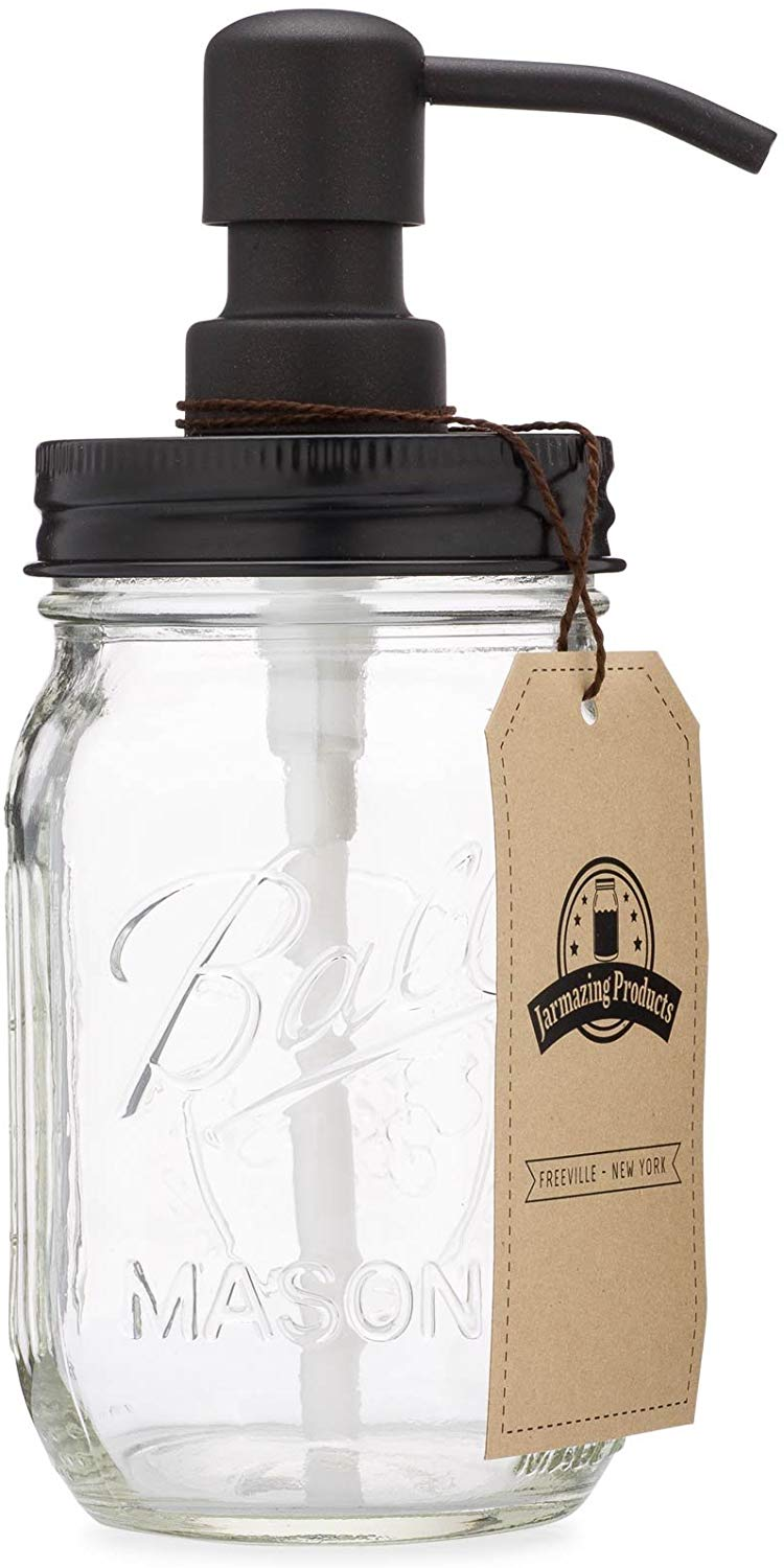 A Mason jar with a black soap dispenser top
