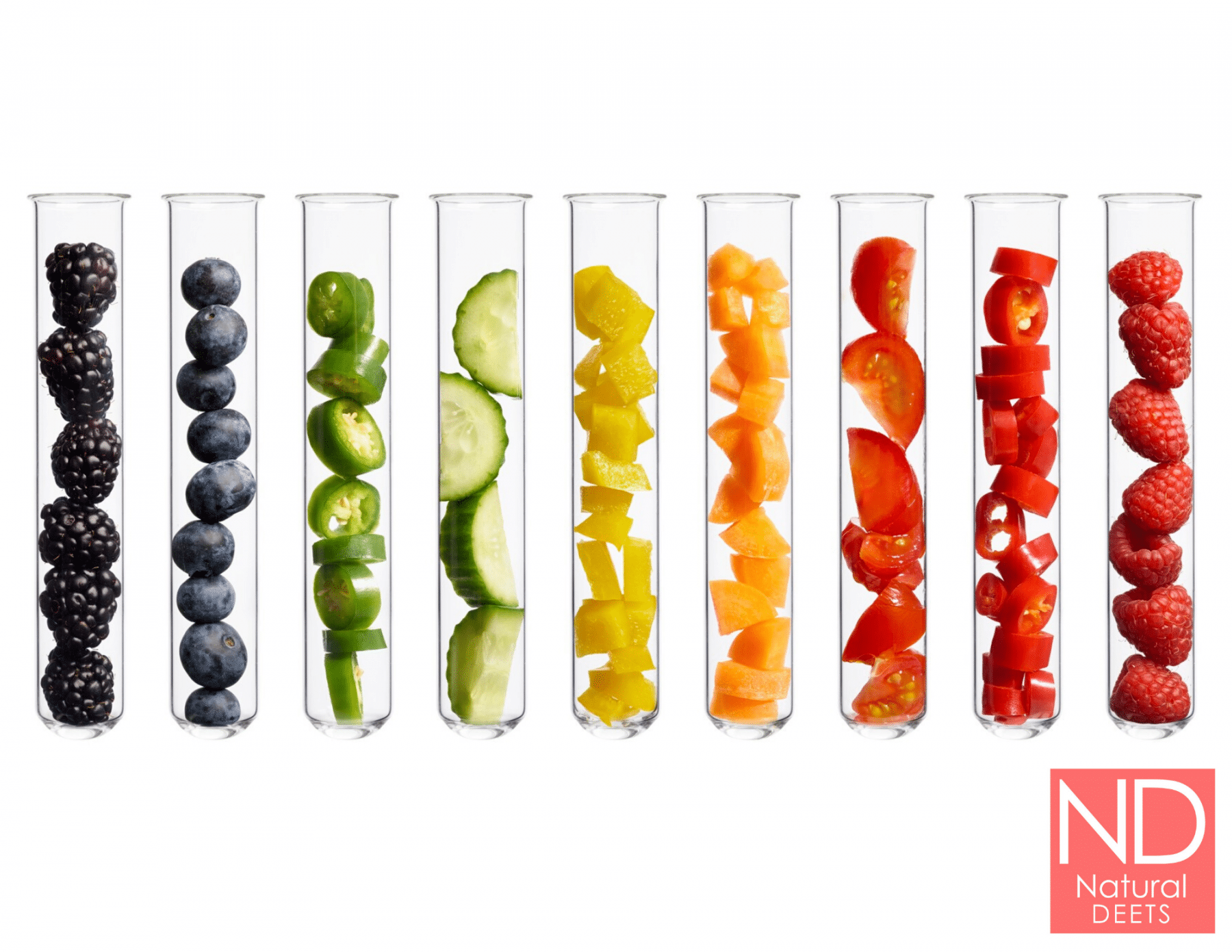 a picture of different colored fruits and vegetables in test tubes