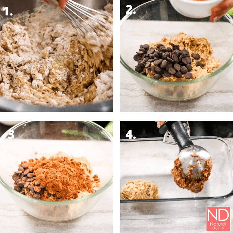 picture of 4 steps to making marbled banana bread