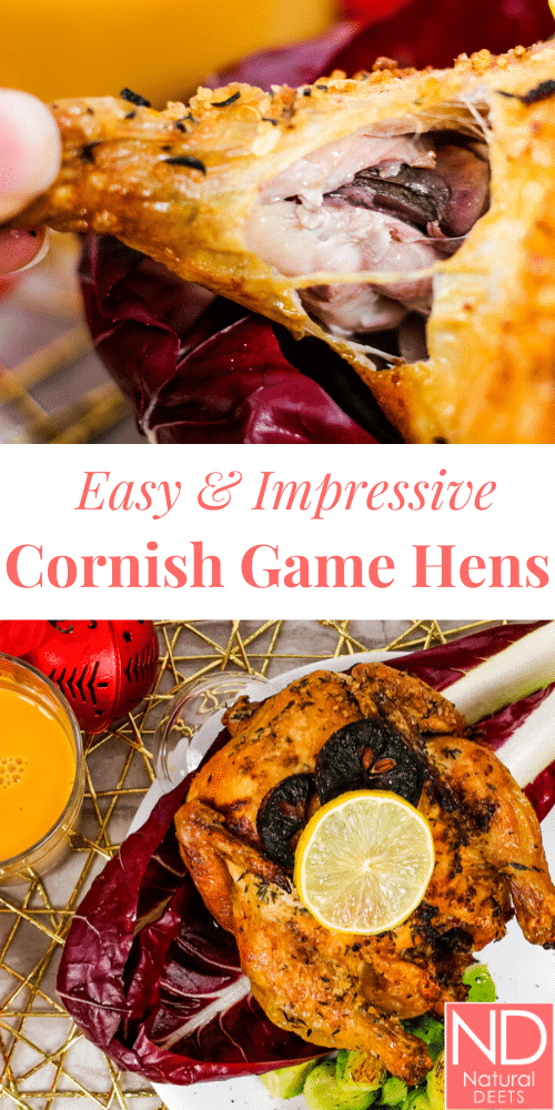 pinterest pin with two pictures of the cooked cornish game hen