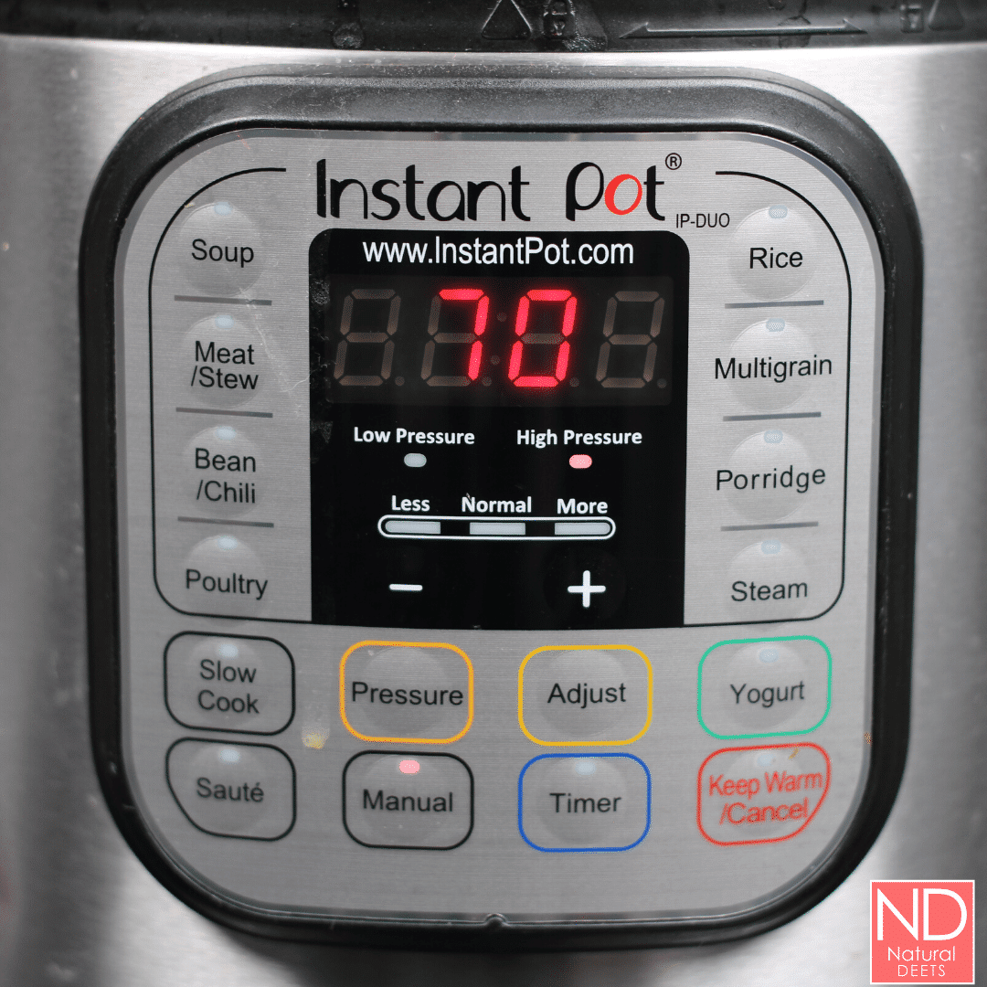 a picture of the front of an instant pot to show all the buttons