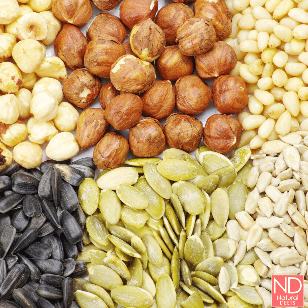 a picture of seeds and nuts that can be added to smoothies