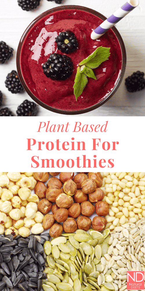 a pinterest pin with 2 pictures, one with a smoothie and one with nuts and seeds