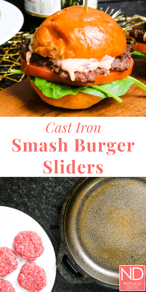 a pinterest pin with one picture of a smash burger slider and one picture of a cast iron skillet