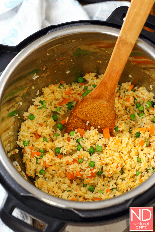 top view of an instant pot with fried rice in it