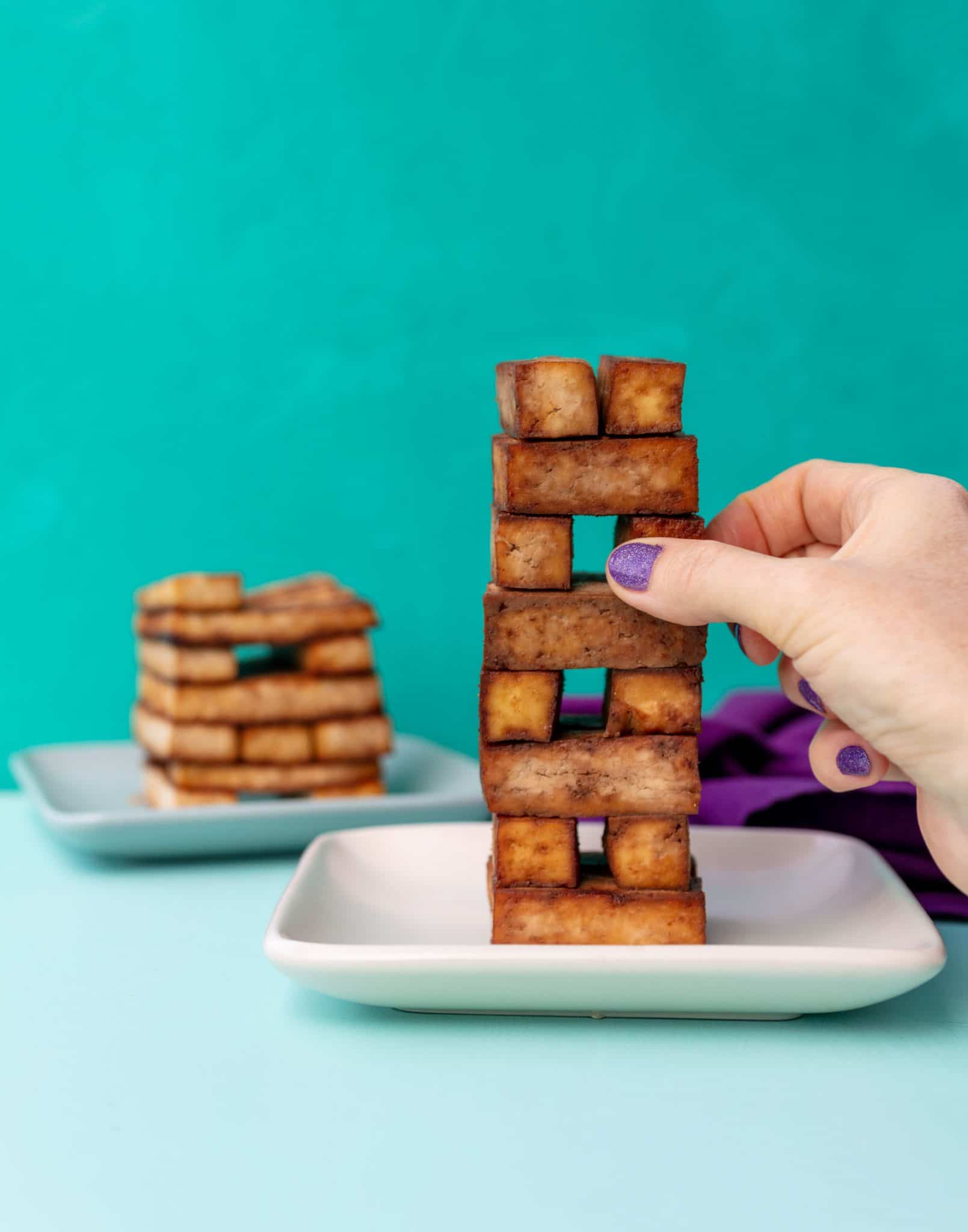 teriyaki tofu that is in the shape of a jenga game