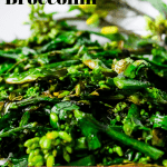 pinterest pin with picture of broccolini that says sauteed broccolini