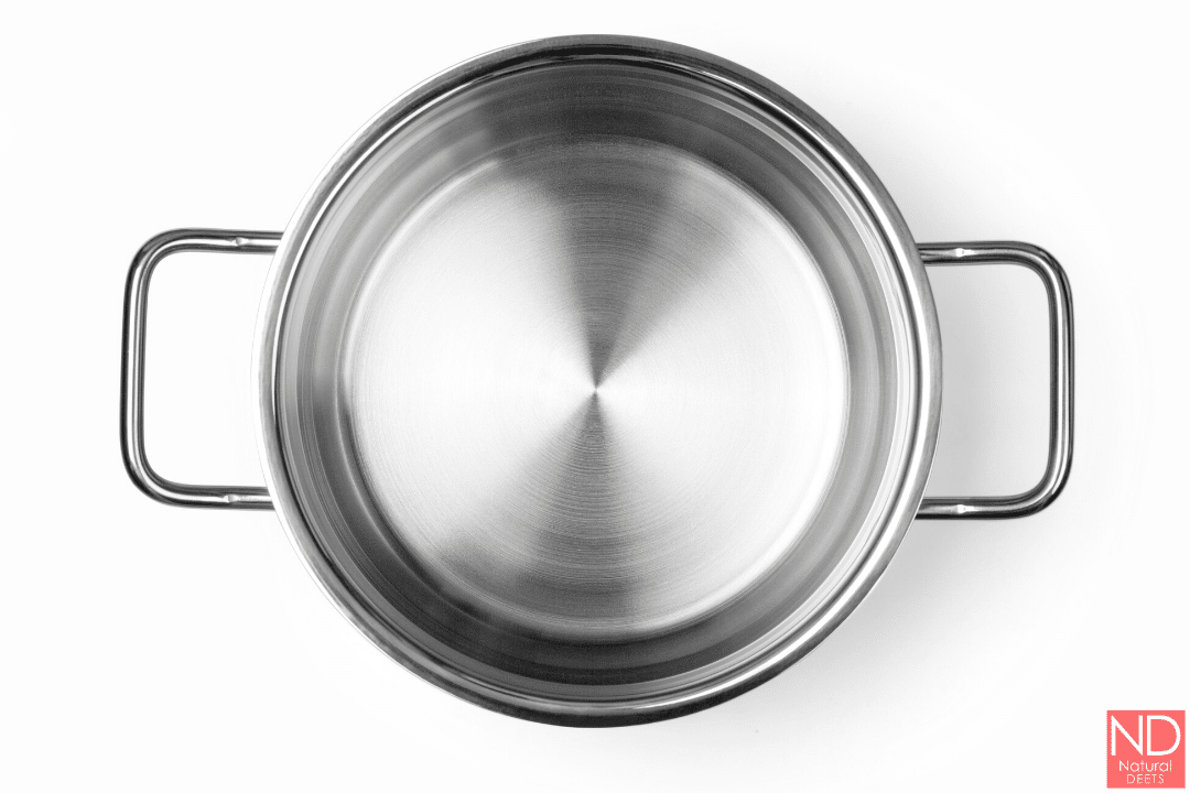 a top view of a stainless steel stock pot