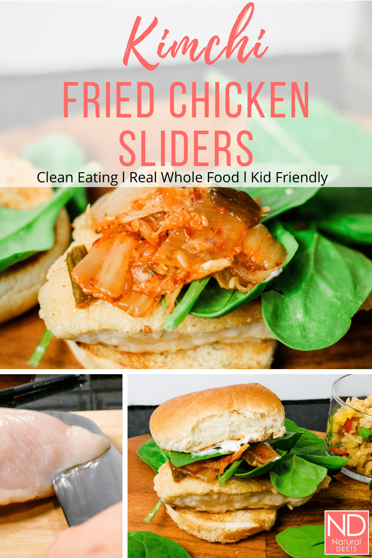 pinterest pin with 3 pictures of kimchi chicken slider