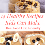 a pinterest pin that says 14 recipes kids can make with pictures of some of the recipes on the blog post