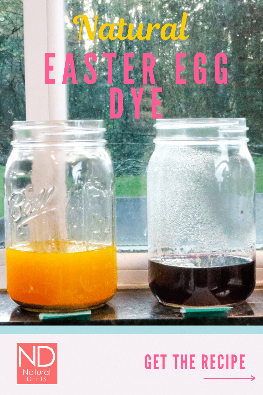 picture of one yellow and one blue egg dye in mason jars on a windowsill