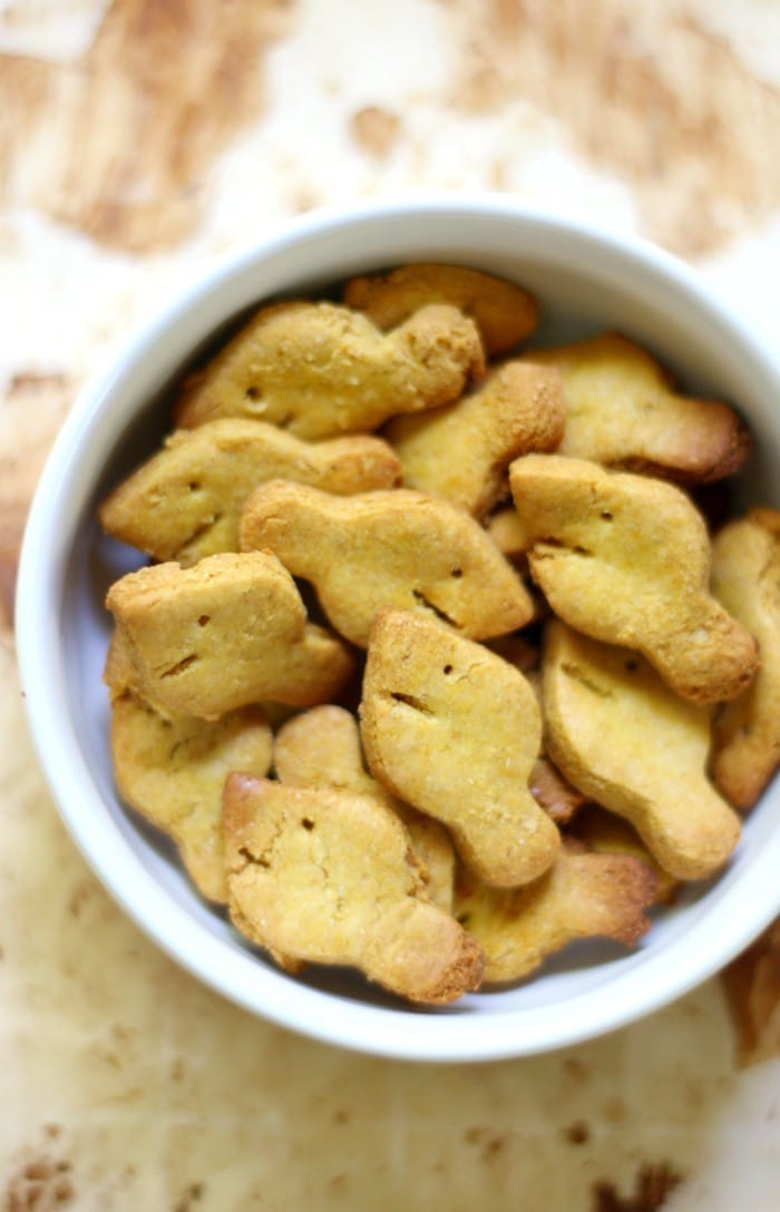 homemade goldfish crackers in a white bowl