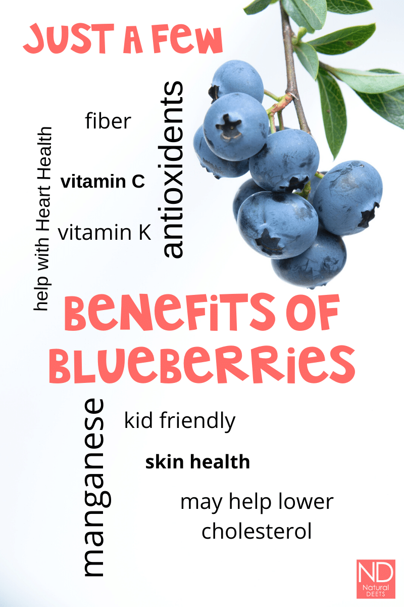 "an infographic that says ""just a few benefits of blueberries"""