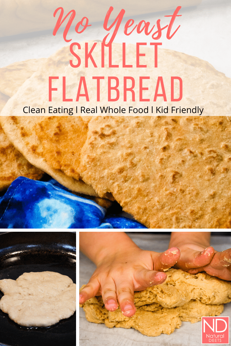 pinterest pin that says no yeast skillet flatbread