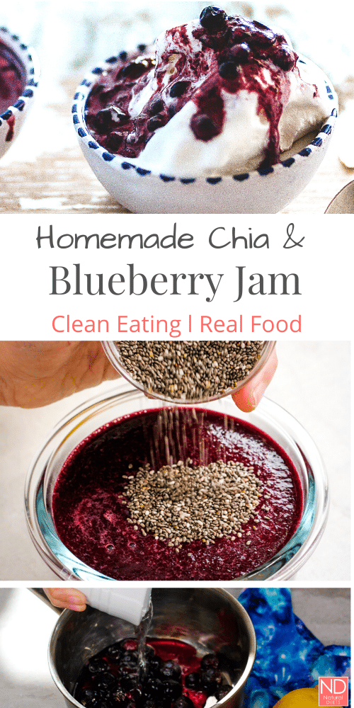 a pinterest pin with pictures of jam that says homemade chia and blueberry jam