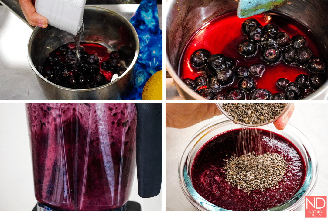 four pictures showing the process for making the jam. One is on the stove, one of the blender and one pouring in the chia seeds
