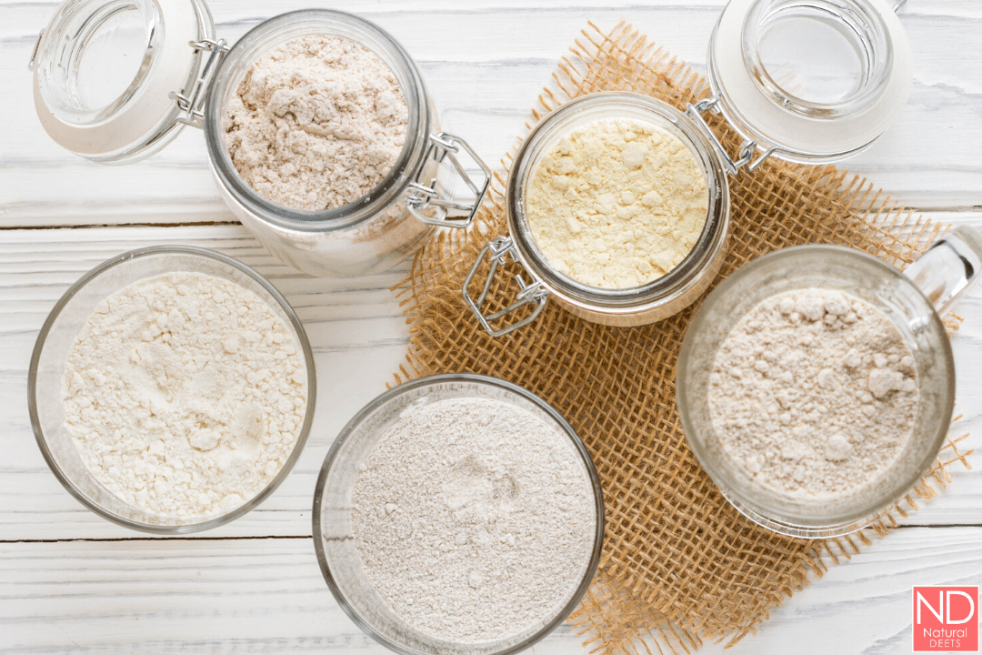 top view of flour in canisters