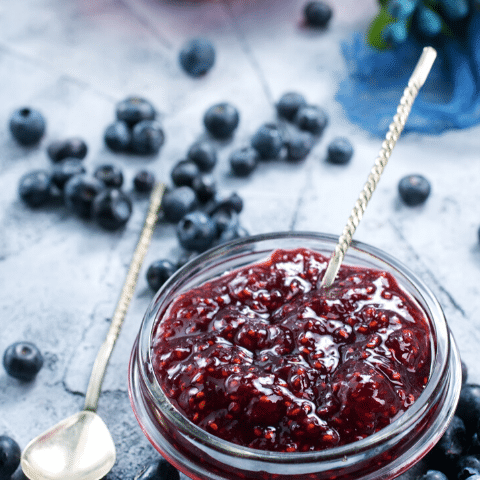 Homemade Blueberry Jam with Chia Seeds